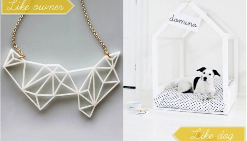white geometric necklace and bed dog