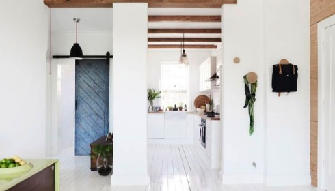 white floors and blue door