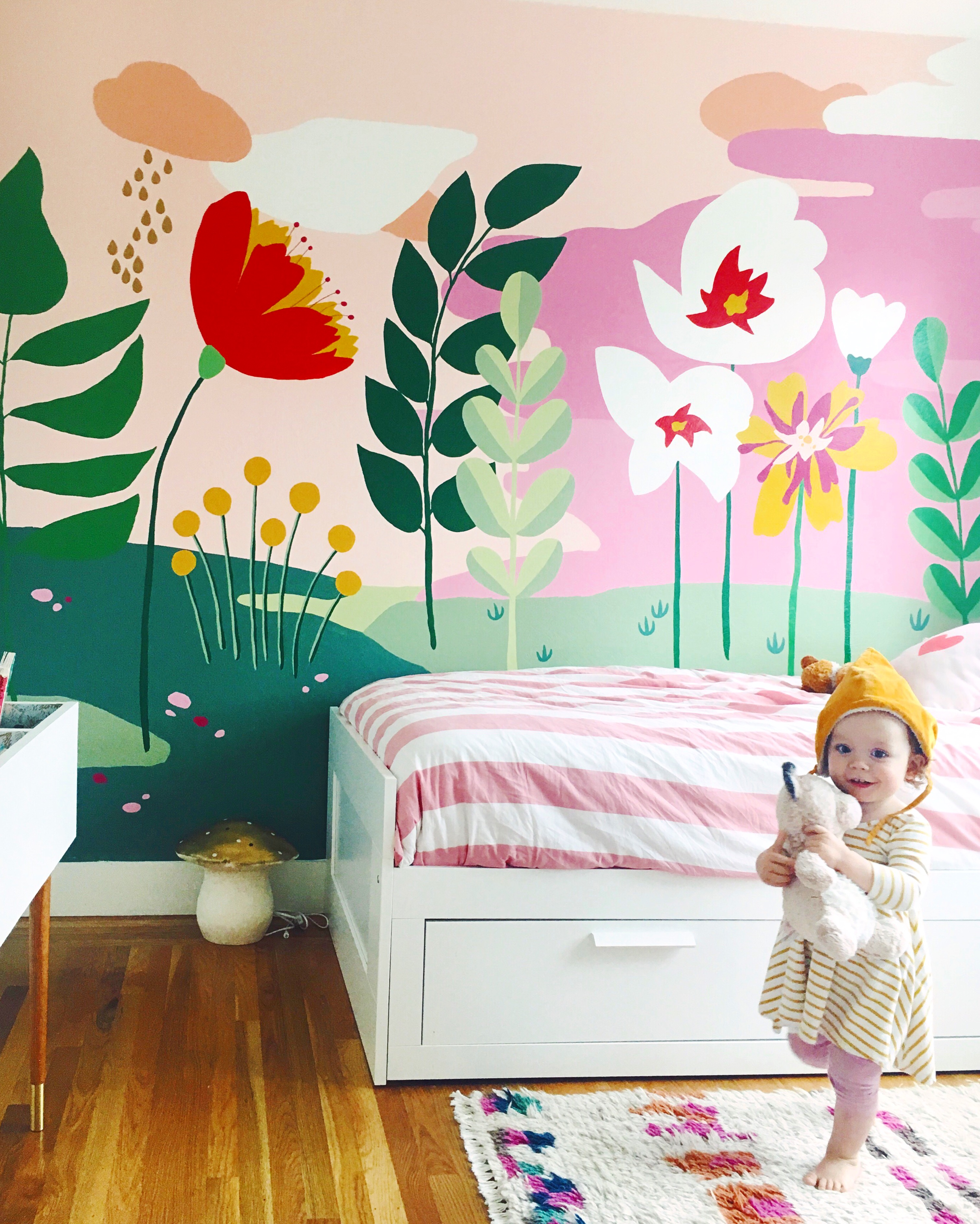 Whimsical Mural For The Girls Bedroom This Little Street