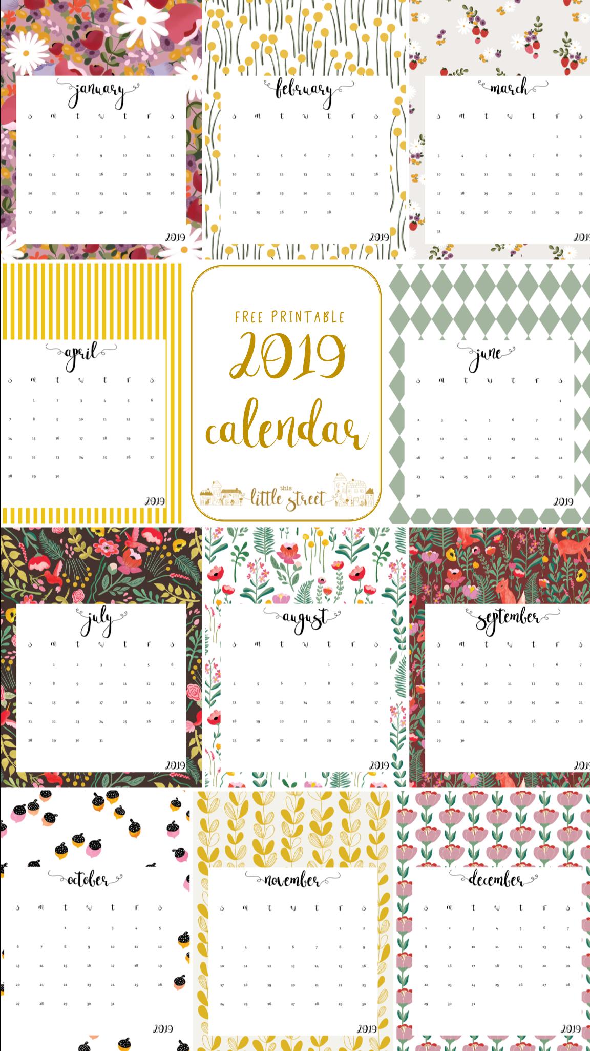 Gratis Kalender 2019 Tile Print Kalender Plan